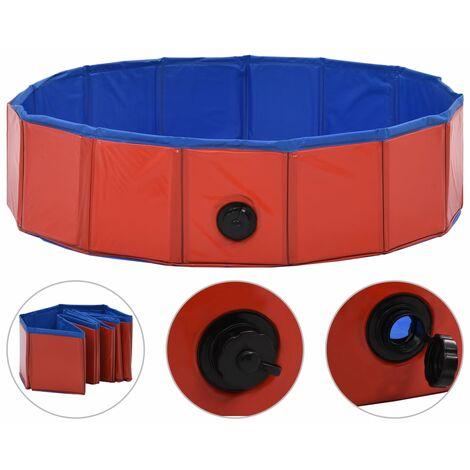 Piscina per Cani Pieghevole Rossa 80x20 cm in PVC