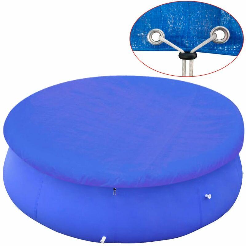 Telo di Copertura per Piscina Fuoriterra Rotonda 300 cm Blu Vidaxl