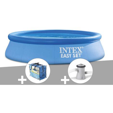 Piscine autoportée Easy Set 2,44 x 0,61 m + Bâche à bulles + Épurateur à cartouche