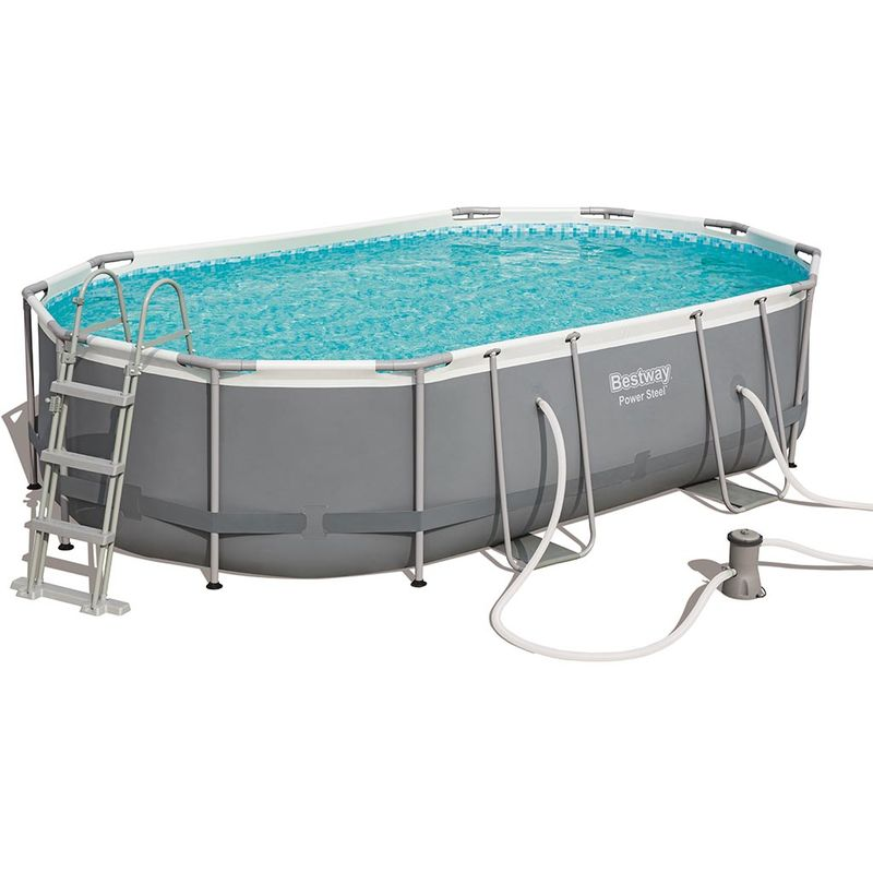 Kit complet piscine tubulaire POWER STEEL FRAME POOLS ovale 488cm x 305cm x 107cm filtration cartouche - Bestway