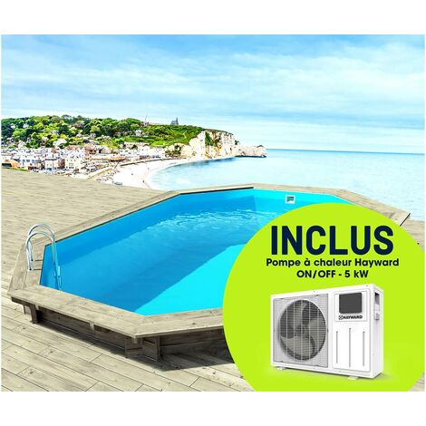 "Piscine bois "" Brazilia "" 5.86 x 3.86 x 1.20 m + Pompe à chaleur réversible ""Simplicity by Hayward"" ON/OFF - 5 kW - Blanc"