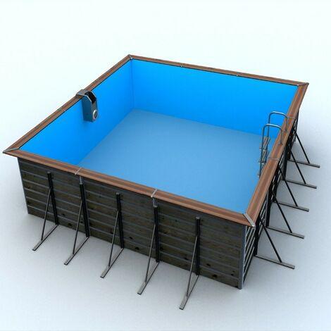 Piscine bois carrée 3,70 x 3,70 x H. 1,47 m - EGINE