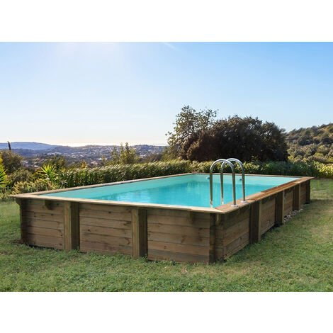 "Piscine bois en kit rectangle ""Kolanta "" - 10.20 x 5.20 x 1.44 m"