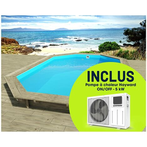 """Piscine bois """" Florida """" - 6.57 x 4.57 x 1.31 m + Pompe à chaleur réversible """"Simplicity by Hayward"""" ON/OFF - 5 kW - Blanc"""