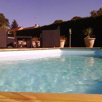 Piscine bois GRENADE 4,36 m x 3,36 m x H. 1,19 m - Couleur liner - Bleu