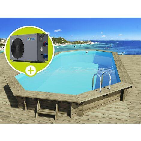 """Piscine bois """" Ibiza """" - 8.57 x 4.57 x 1.31 m +Pompe à chaleur réversible """"Simplicity by Hayward"""" ON/OFF - 5 kW - Blanc"""