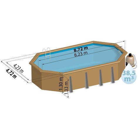Piscine bois LARANJA 8,72 m x 4,72 m x H. 1,33 m - Couleur liner - Bleu