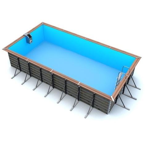 Piscine bois rectangulaire 8,30 x 5,20 x 1,47 m LEROS