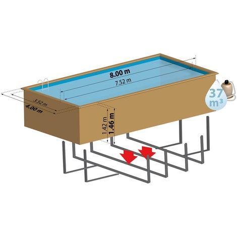 Piscine bois rectangulaire BRAGA 8,00 m x 4,00 m x H. 1,46 m - Couleur liner - Bleu