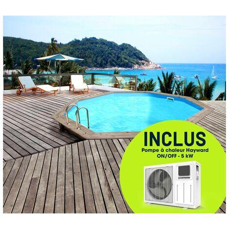 """Piscine bois """"Venecia"""" - 5.80 x 1.31 m + Pompe à chaleur réversible """"Simplicity by Hayward"""" ON/OFF - 5 kW - Blanc"""