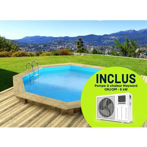 """Piscine bois """" Verona """" - 5.10 x 1.20 m + Pompe à chaleur réversible """"Simplicity by Hayward"""" ON/OFF - 5 kW - Blanc"""