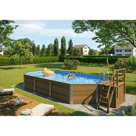 Piscine de luxe WEKA en bois massif de 25,6 m3, inclus kit de filtration/escalier bois/local.