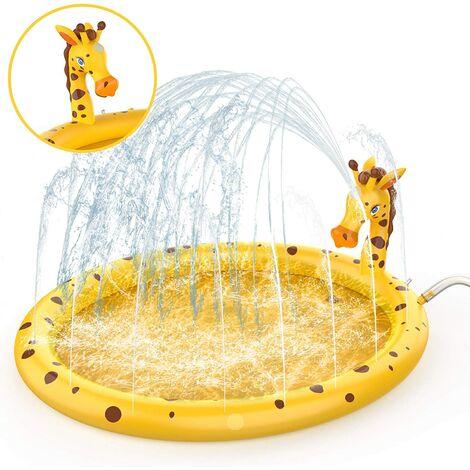 Piscine extérieure pour enfants, piscine à balles pour bébé, aire de jeux gonflable pour enfants avec tapis à jets d'eau, jeu de jardin pour enfants avec girafe jaune