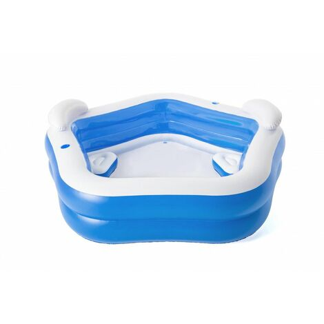 Piscine gonflable avec sièges et appuie-têtes - L 213 cm x l 206 cm x H 69 cm - Bleu - Livraison gratuite