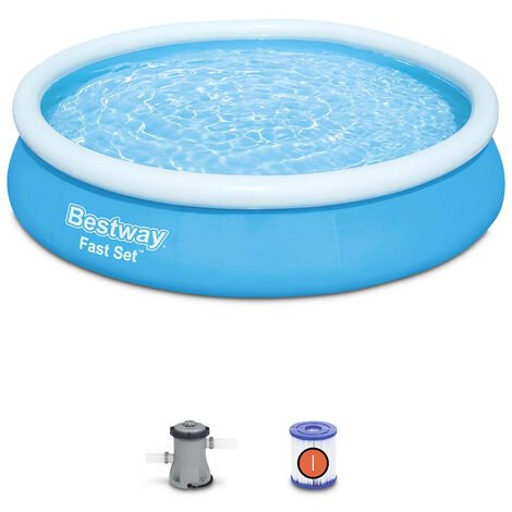 Piscine gonflable bleue autoportante BESTWAY – Jade ⌀ 360 x 76 cm - piscine hors sol autostable ronde avec filtre à cartouche et 2 cartouches incluses