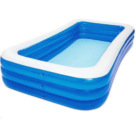 Piscine gonflable de luxe pour enfant et famille - Bleu - 3 boudins - 305x183x56 cm