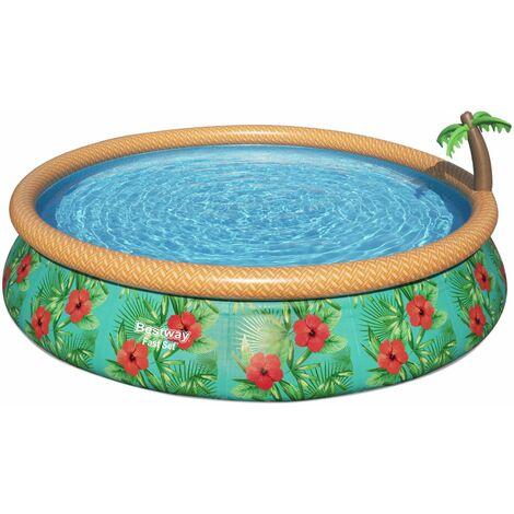 Piscine gonflable hors sol Onega Palmier, ronde Ø457x84cm avec filtre à cartouche et fontaine palmier intégré