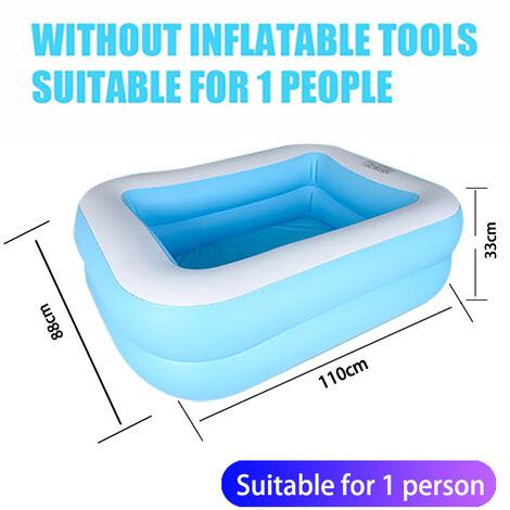 Piscine gonflable rectangulaire bleue piscine gonflable pour enfants epaisse et resistante a l'usure adaptee aux adultes et aux bebes 110 * 88 * 33cm