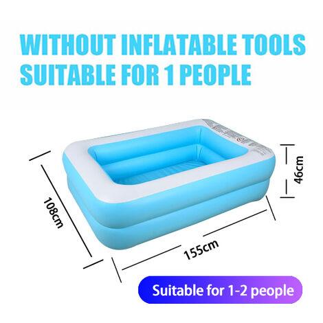 Piscine gonflable rectangulaire bleue piscine gonflable pour enfants epaisse et resistante a l'usure adaptee aux adultes et aux bebes 155*108*46cm