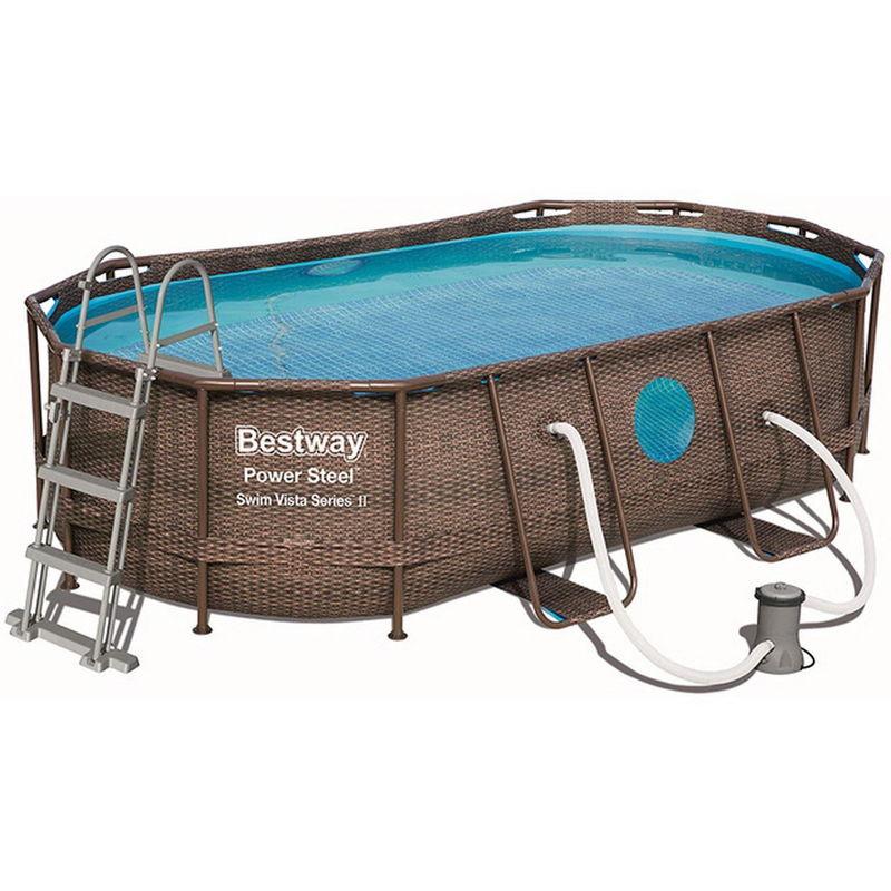 Kit piscine POWER STEEL SWIM VISTA POOL ovale 427x250x100cm aspect tressé avec hublots - Bestway