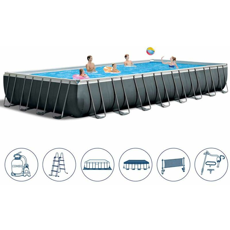 Charmant Piscine Hors Sol Intex 26378 Ex 26376 Rectangulaire Ultra XTR Frame  Volley Ball 975x488x132