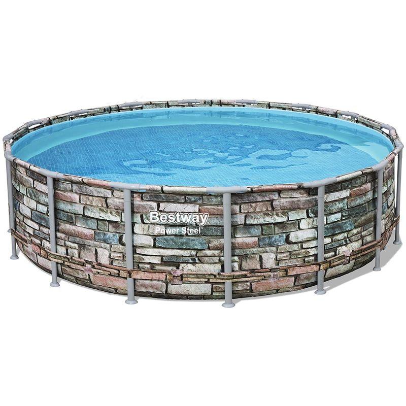 Kit piscine tubulaire POWER STEEL ronde Ø488x122cm à cartouche - Bestway