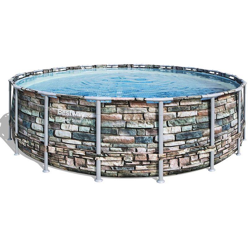 Kit piscine tubulaire POWER STEEL ronde Ø548x132cm à cartouche - Bestway