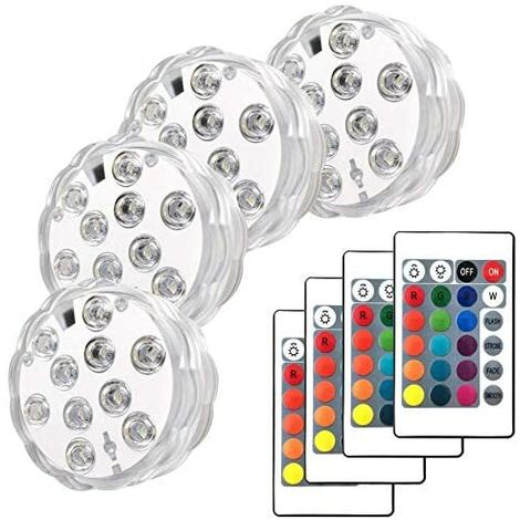 Piscine LED avec télécommande, 4 Packs Lumières de Fontaine sous-Marine Lampes LED Submersibles pour Aquarium, Bain à remous, étang, Piscine, Base, Vase, Jardin, Mariage, fête