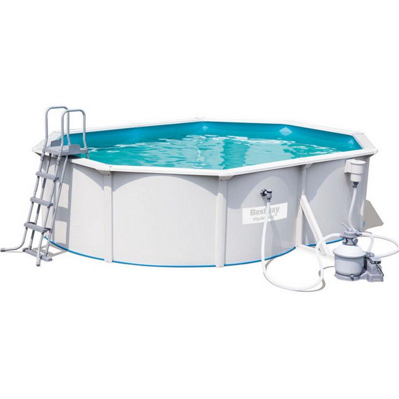 Kit piscine STEEL WALL POOL ovale 500 x 360cm x 120cm filtration à sable - Bestway