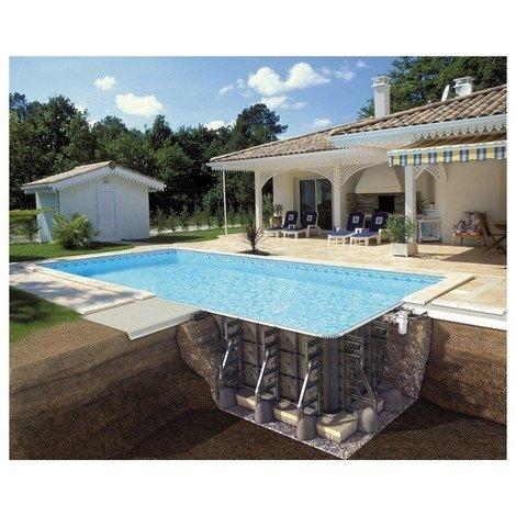 Piscine P-PSC rectangulaire avec filtration Soliflow hauteur 125 cm - Couleur liner: Bleu clair - Taille piscine: 7,50 x 3,50 x 1,25 m