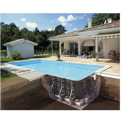 Piscine P-PSC rectangulaire avec filtration Soliflow hauteur 150 cm - Couleur liner: Gris clair - Taille piscine: 8,50 x 4,50 x 1,50 m