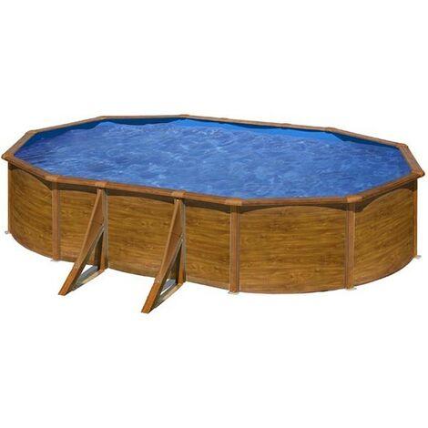 Piscine Pacific ovale 6,10 m x 3,75 m x 1,20 m - Imitation bois de Gre - Piscine acier