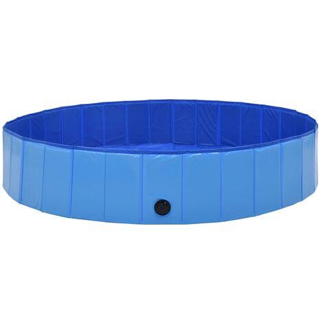 Piscine pliable pour chiens Bleu 160x30 cm PVC
