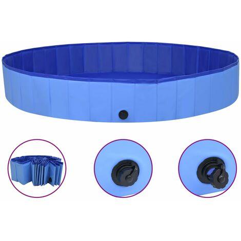 Piscine pliable pour chiens Bleu 200x30 cm PVC