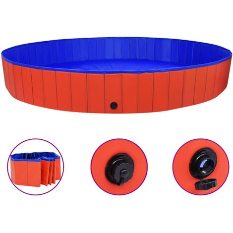 Piscine pliable pour chiens Rouge 300x40 cm PVC