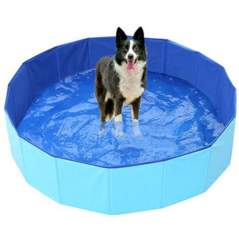 Piscine pliante pour chien, baignoire receveur de douche chien/chat/animal aire de jeux extérieur, facile à nettoyer-bleu 80*20cm