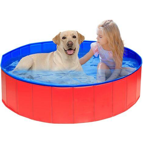 Piscine pliante pour chien, baignoire receveur de douche chien/chat/animal aire de jeux extérieur-rouge 60*20cm