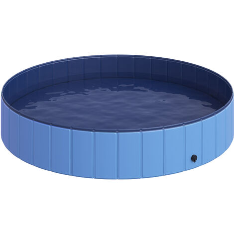 Piscine pour chien bassin PVC pliable anti-glissant facile à nettoyer diamètre 160 cm hauteur 30 cm bleu