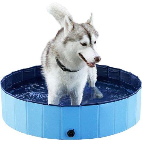 Piscine pour Chien Pliable, Baignoire Douche Bassin Jeu pour Chien/Chat/Animal Extérieur-Bleu (80 * 30cm)