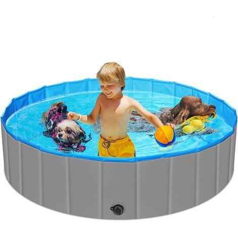 Piscine pour chiens pliable design épaissi piscine pour enfants de 47 pouces piscine portable pour enfants piscine en plastique antidérapante PVC piscine pour animaux de compagnie baignoire piscine durable en panneaux de fibres de bois pour tout-petits, c
