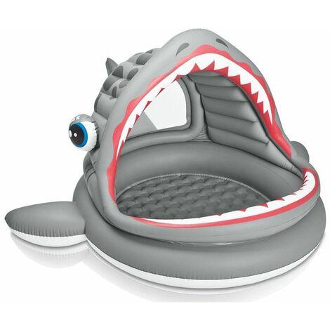 Piscine requin avec pare soleil - Gris - Pataugeoire gonflable