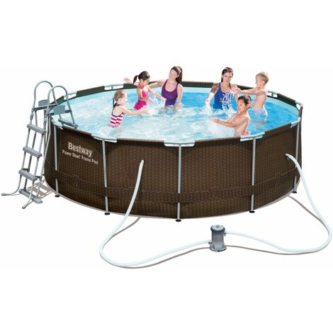 Piscine Tubulaire Amovible Bestway Power Steel Design en Rattan 366x100 cm - 56379