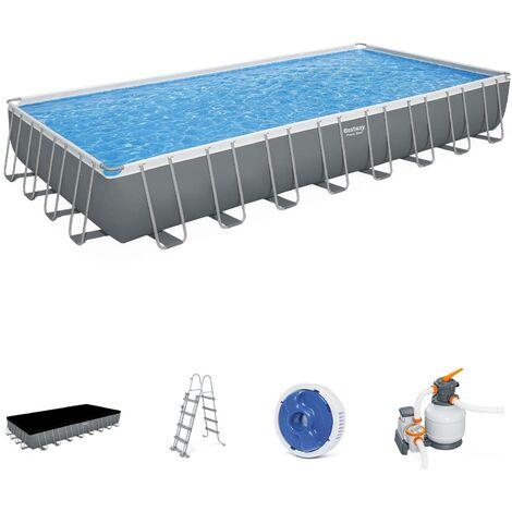 Piscine tubulaire BESTWAY - Ambre - grise, grande piscine rectangulaire 10x5m avec pompe de filtration à sable, échelle et bâche de protection