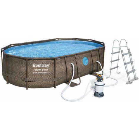 Piscine tubulaire BESTWAY - Aventurine - imitation résine tressée marron, piscine ovale 5x3m avec pompe de filtration à sable, hublots, échelle et bâche de protection