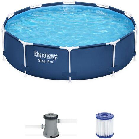 Piscine tubulaire BESTWAY - Connemara Ø3,05m bleue - piscine ronde Ø3,05m avec pompe de filtration, piscine hors sol, armature acier