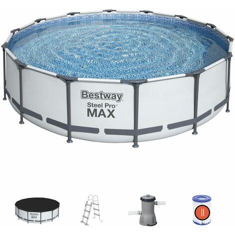 Piscine tubulaire BESTWAY - Peridot 14,5m² grise- piscine ronde Ø4,3m avec pompe de filtration, échelle et bâche de protection, piscine hors sol, armature acier