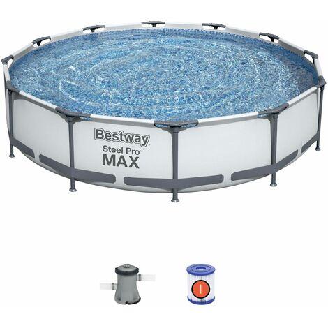 Piscine tubulaire BESTWAY - Opalite grise - piscine ronde Ø3,6m avec pompe de filtration, piscine hors sol, armature acier