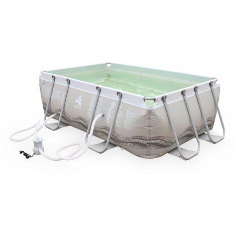 Piscine Tubulaire Corail grise, piscine rectangulaire 3x2m avec pompe de filtration, piscine hors sol armature acier