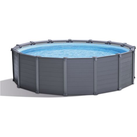 Piscine tubulaire Graphite ronde 4,78 x 1,24 m - Intex