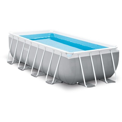 Piscine tubulaire Prism Frame rectangulaire 4,00 x 2,00 x 1,00 m - Intex - Gris clair
